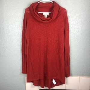 Anthro ruby moon orange cowl neck tunic sweater XL